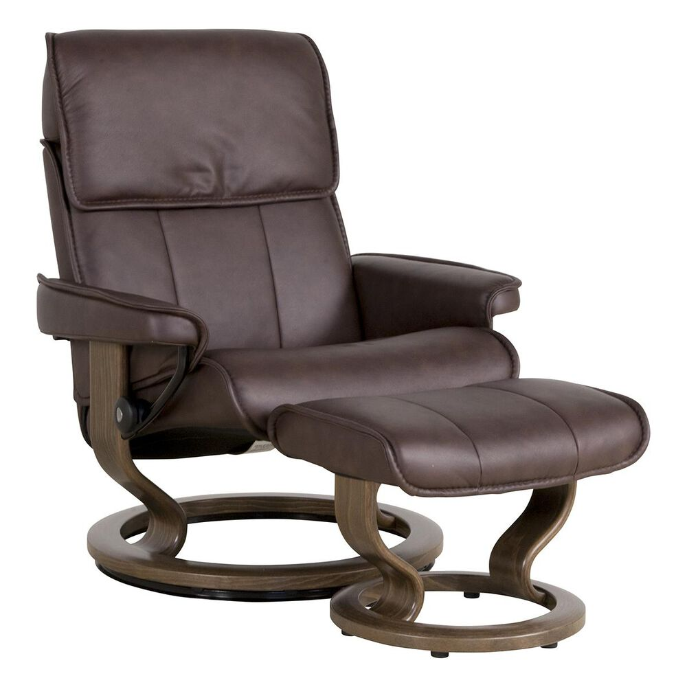 Ekornes Stressless Admiral Large Leather Chair and Ottoman in Paloma Chocolate, , large