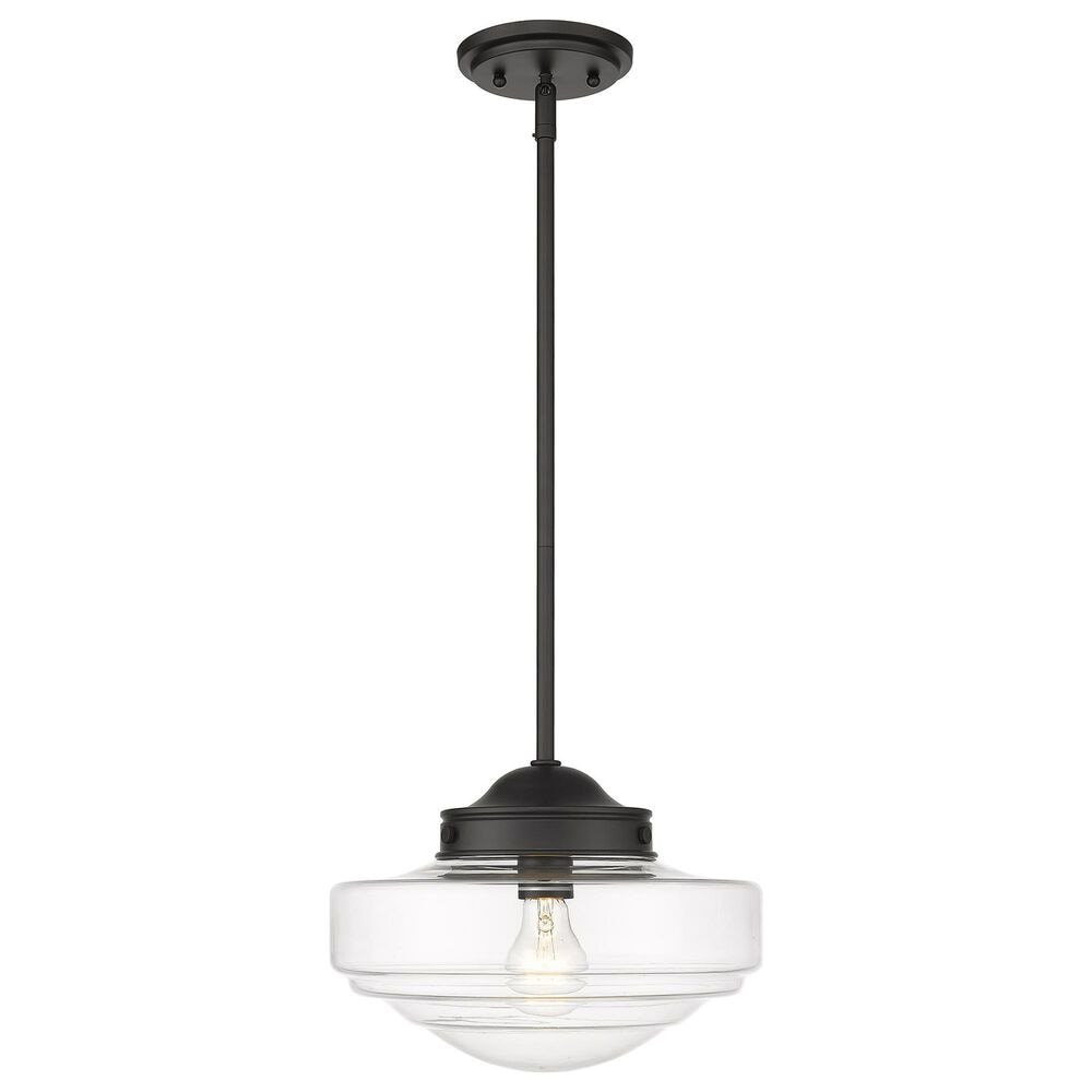 Golden Lighting Ingalls Medium Pendant in Matte Black with Clear Glass, , large