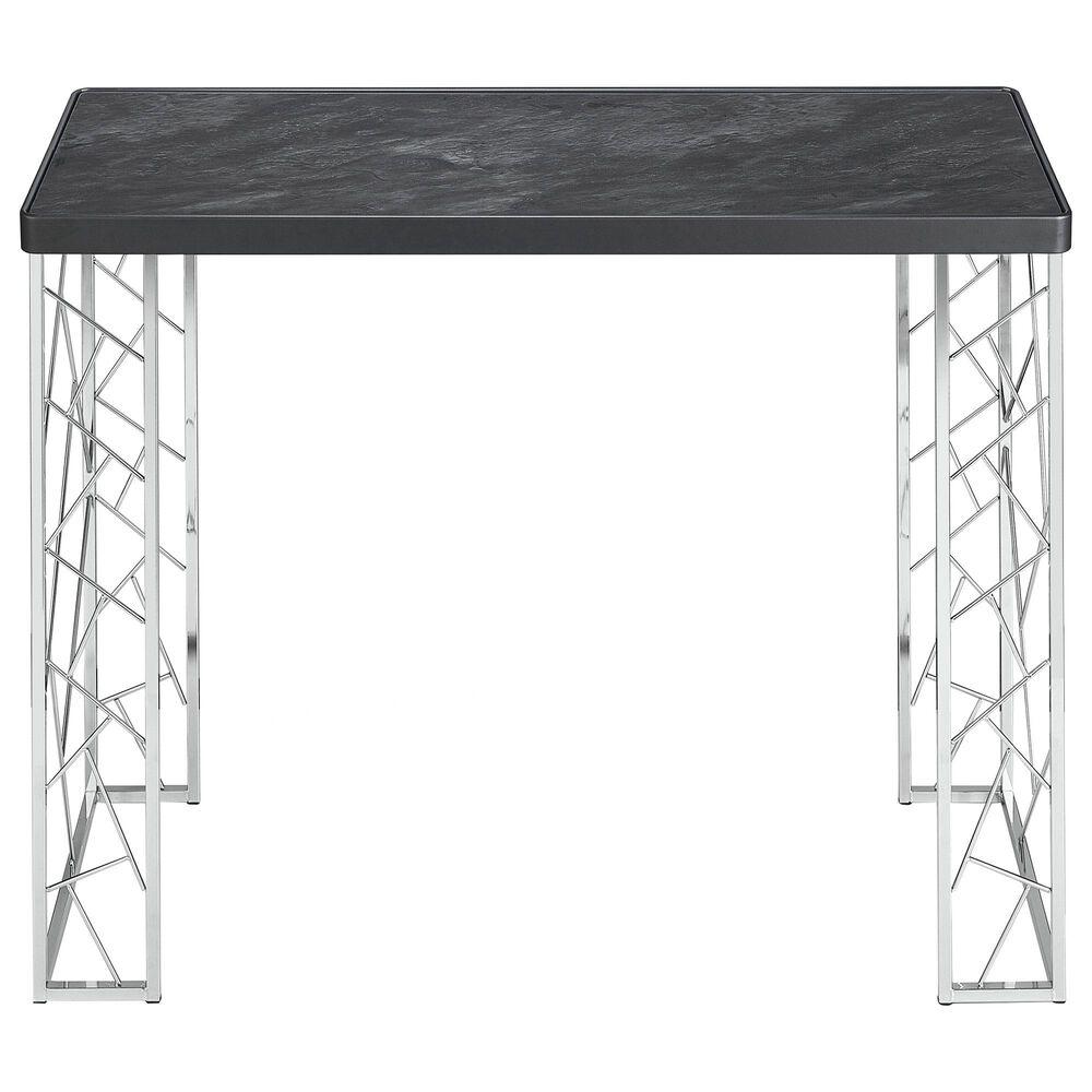 Furniture of America Mathews Sofa Table in Black and Chrome, , large