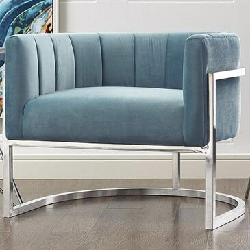 Tov Furniture Magnolia Chair with Silver Base in Sea Blue, , large