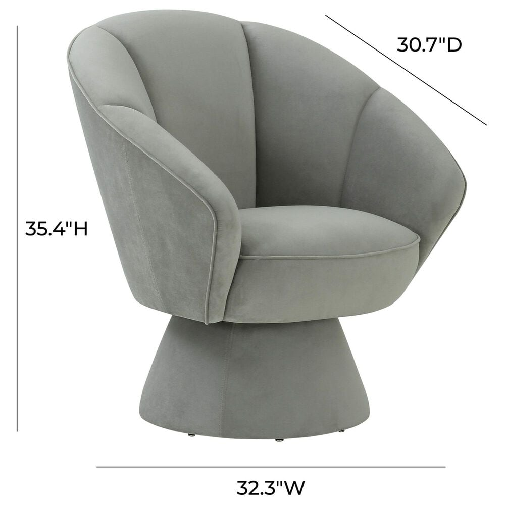 Tov Furniture Allora Swivel Accent Chair in Grey Velvet, , large
