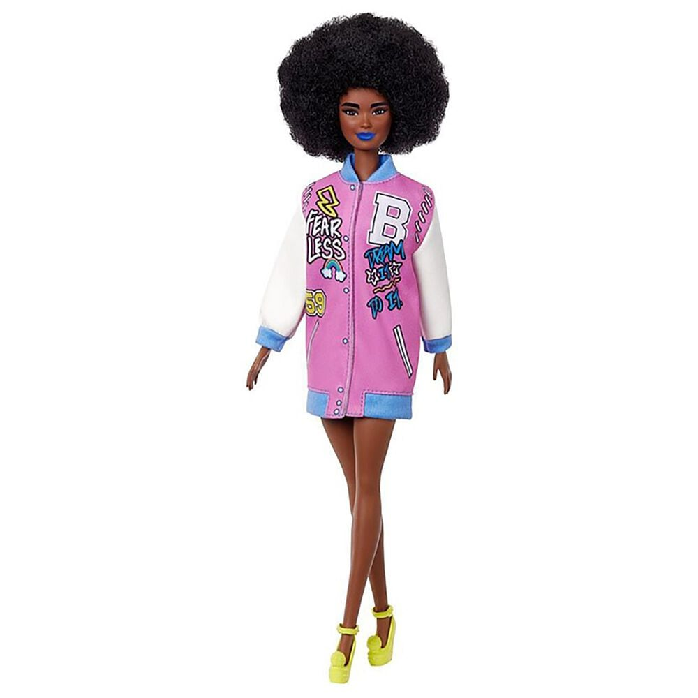 Barbie Fashionistas Doll with Brunette Afro and Blue Lips Wearing Graphic Coat Dress, , large