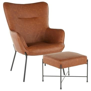 Lumisource Izzy Lounge Chair and Ottoman in Camel Faux Leather and Black, , large