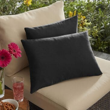 "Sorra Home Sunbrella 13"" x 20"" Pillow in Canvas Black (Set of 2), , large"