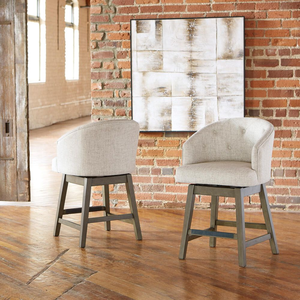 Signature Design by Ashley Tripton Swivel Barstool in Linen, , large