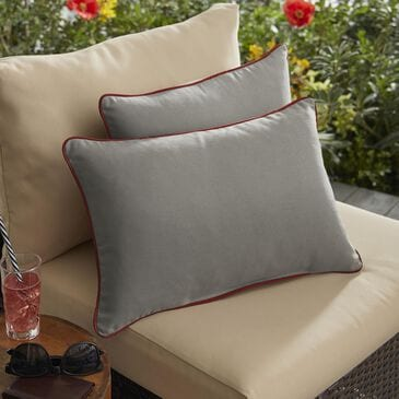 """Sorra Home Sunbrella 13"""" x 20"""" Pillow in Canvas Charcoal (Set of 2), , large"""