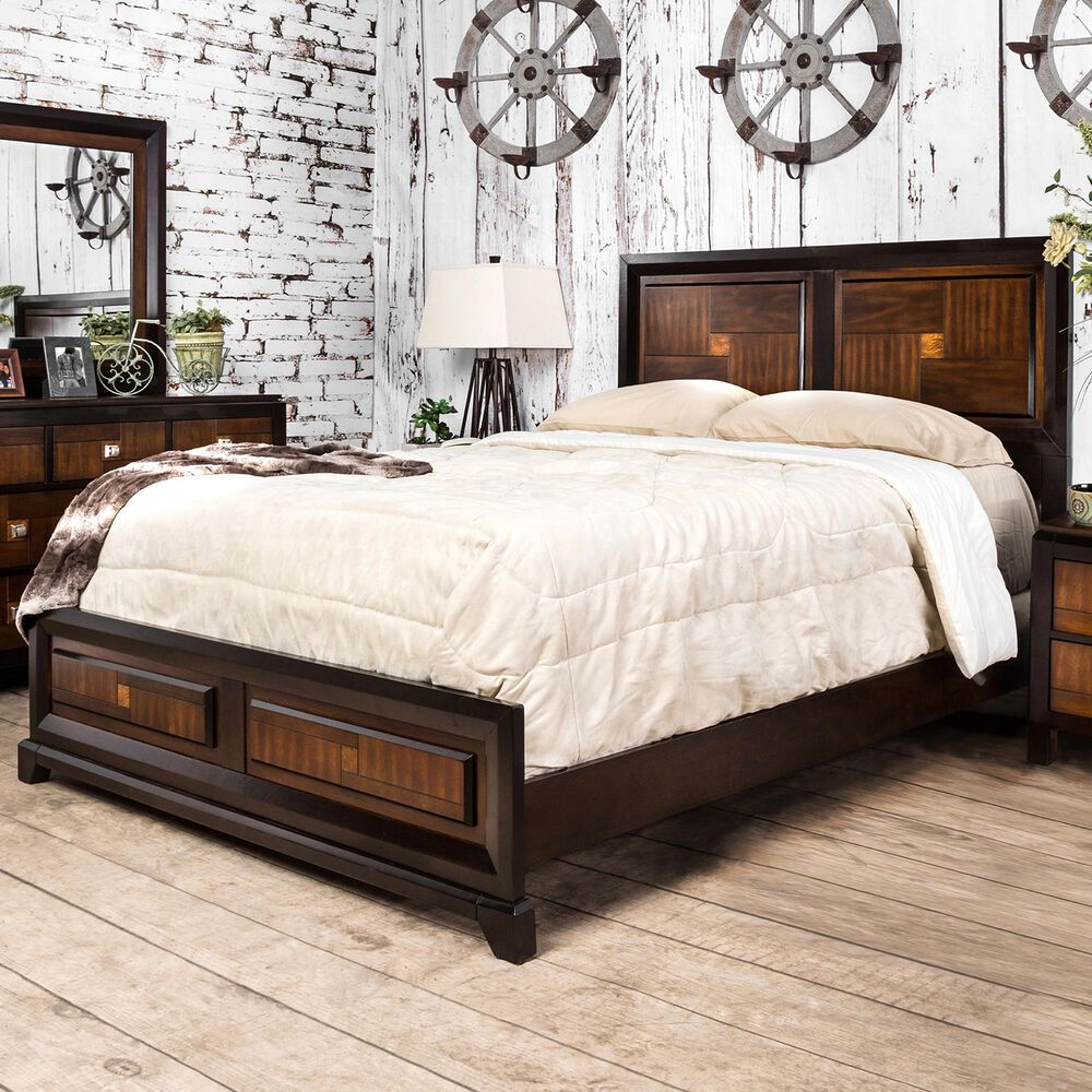 Furniture of America Nichols Queen Panel Bed in Acacia/Walnut, , large