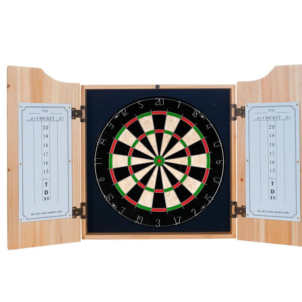 Timberlake Corona Dart Board Set with Cabinet in Pine 45813664, , large