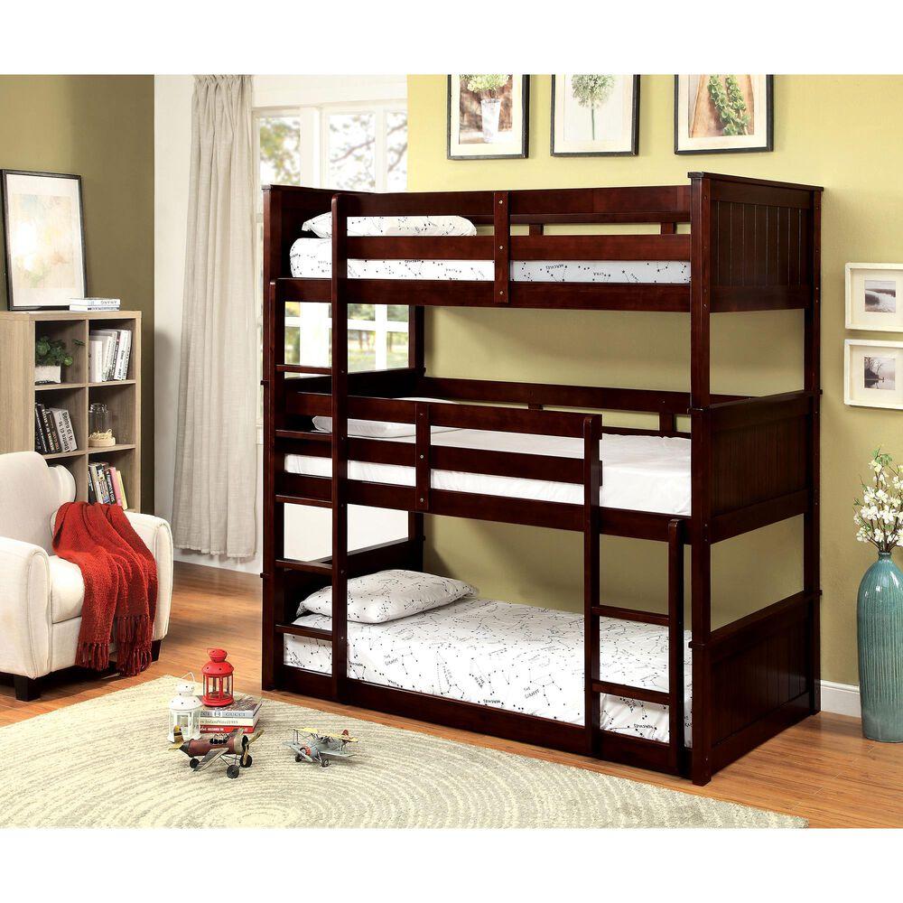 Furniture of America Goodwin Triple Twin Bunk Bed in Dark Walnut, , large