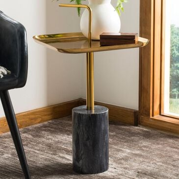 Safavieh Artemis Square Side Table in Brass/Marble, , large