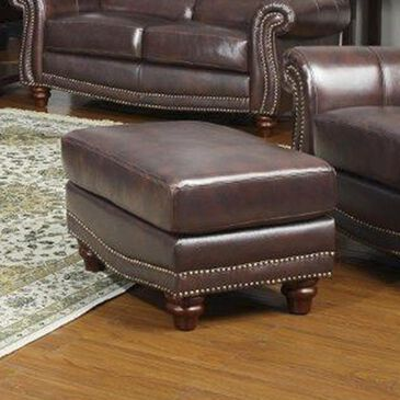 Nineteen37 James Leather Ottoman in Tobacco , , large