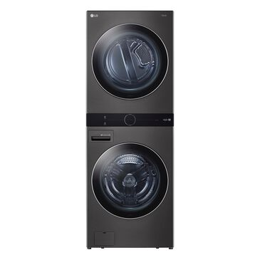 LG WashTower with Center Control 4.5 Cu. Ft. Washer and 7.4 Cu. Ft. Electric Dryer in Black Stainless Steel , , large