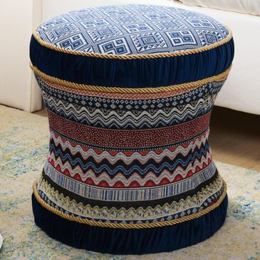 Jennifer Taylor Home Leona Ottoman in Blue Multicolored, , large