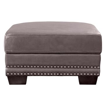 Back Nine Leather Belmont Leather Ottoman in Chatham Gray, , large