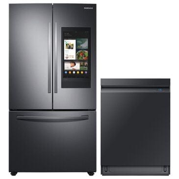 Samsung 2-Piece Kitchen Package with 27.7 Cu. Ft. French Door Refrigerator and Linear Wash Dishwasher in Black Stainless Steel, , large