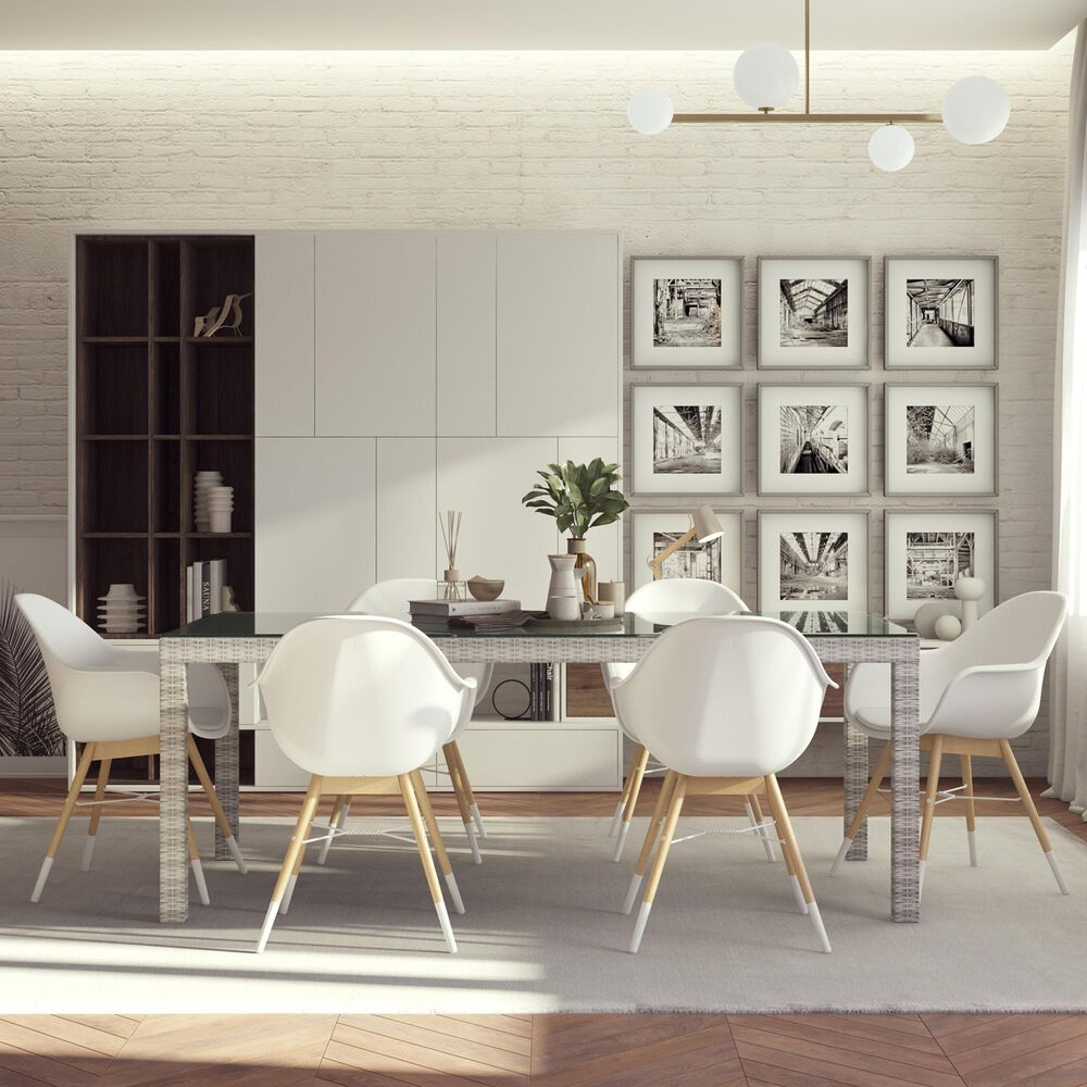International Home Miami Midtown Mid-Century Modern Concept 7-Piece Dining Set in Grey, Brown and White, , large