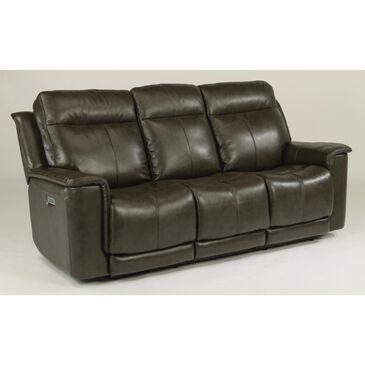 Flexsteel Miller Leather Power Reclining Sofa in Gray, , large