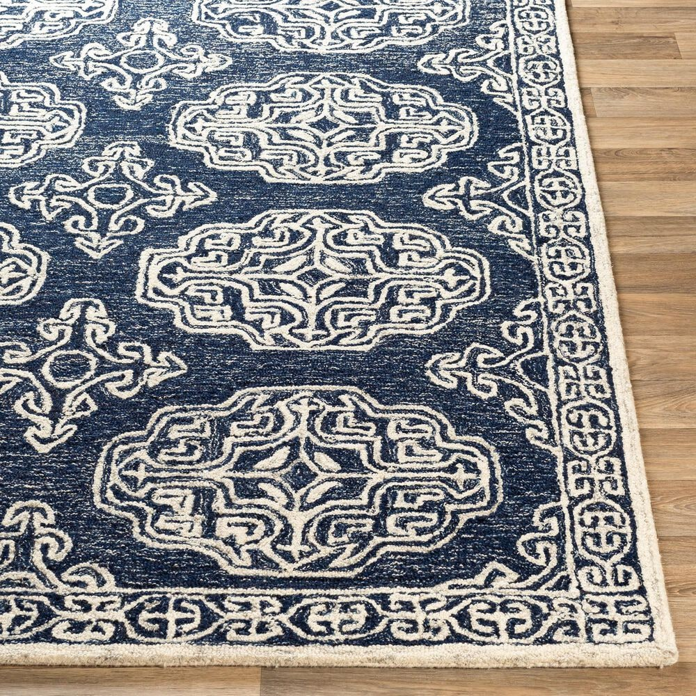 """Surya Granada GND-2308 5' x 7'6"""" Dark Blue, Ivory and Charcoal Area Rug, , large"""