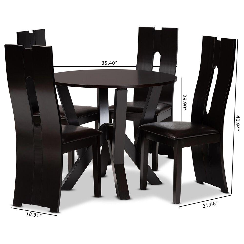 Baxton Studio Senan 5-Piece Dining Set in Dark Brown/Espresso Brown, , large