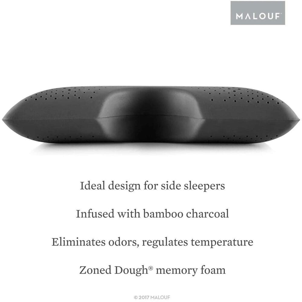 Malouf Queen Shoulder Bamboo Pillow in Charcoal, , large