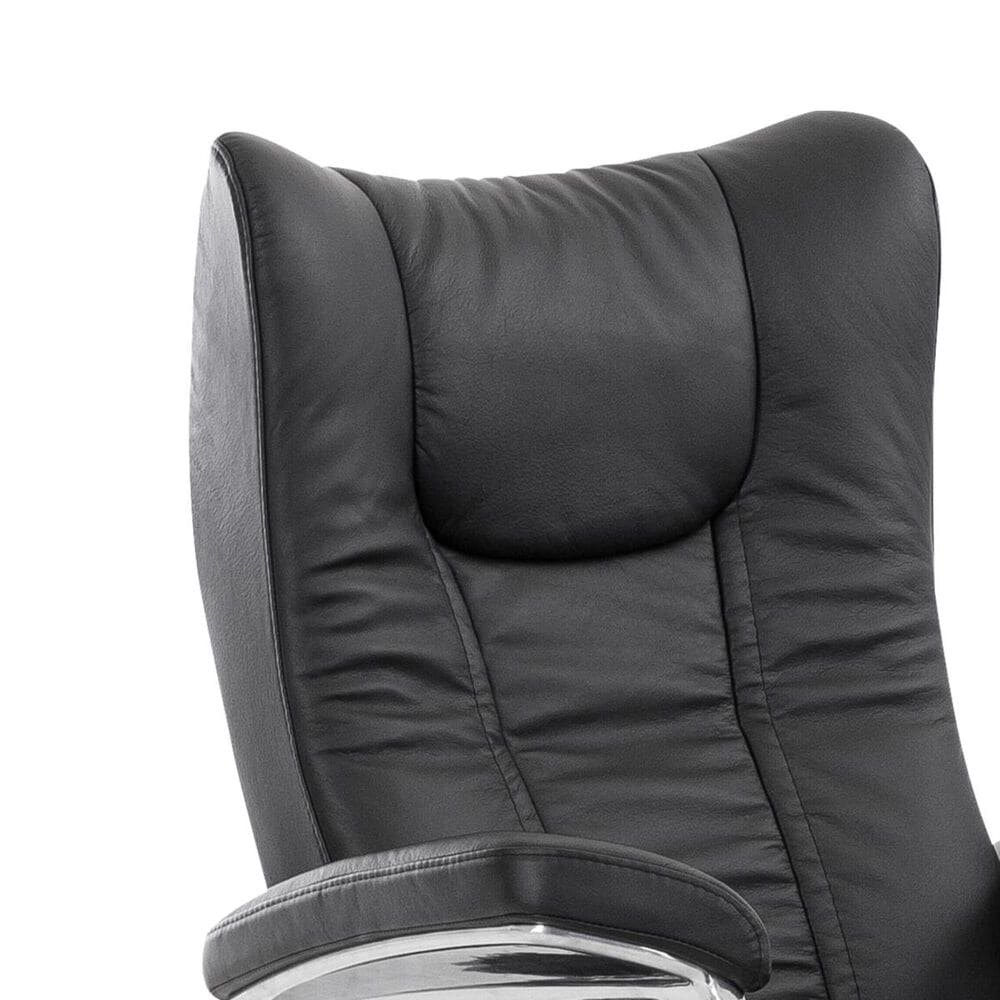 Ekornes Wing Small Chair and Ottoman with Signature Base in Paloma Black, , large