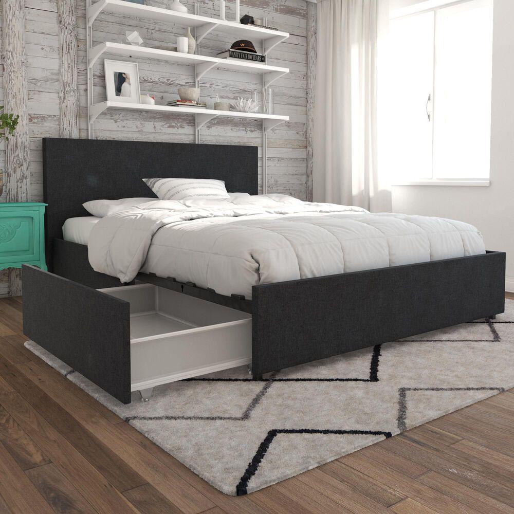 Novogratz Kelly Full Upholstered Storage Bed in Dark Gray Linen, , large