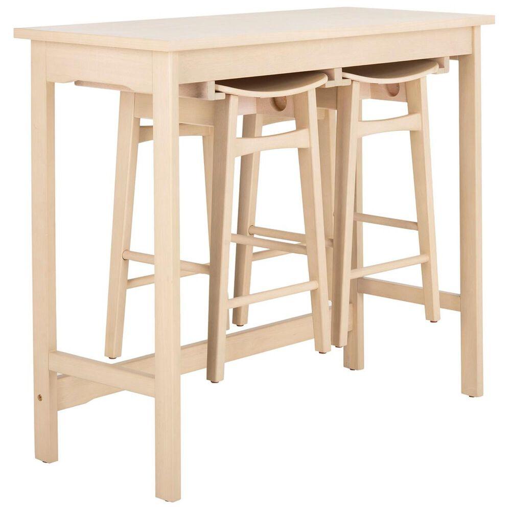 Safavieh Colbie 3-Piece Pub Set with Chair Storage in White Oak, , large