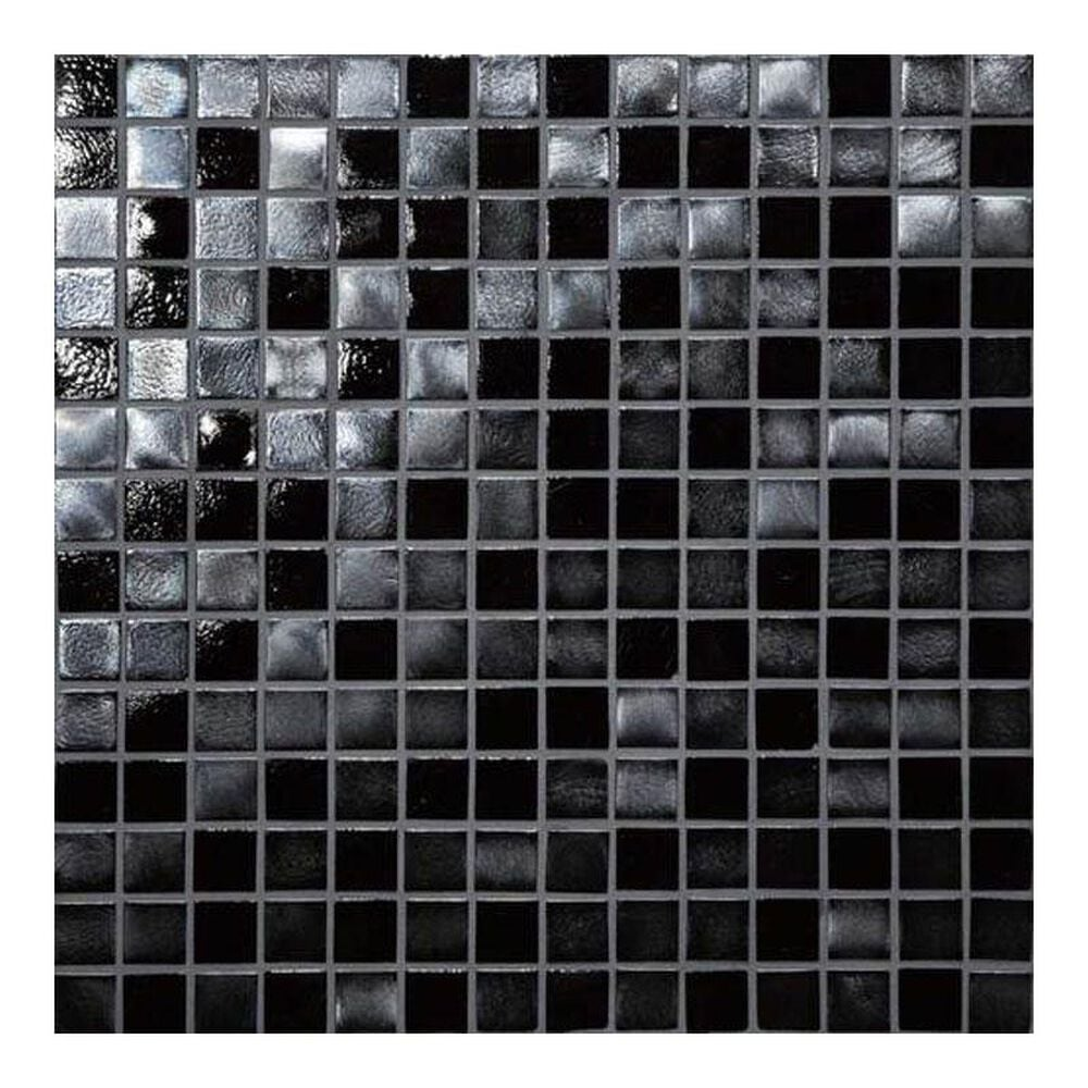 "Dal-Tile Glass Horizons Black Sand 12"" x 12"" Glass Mosaic Sheet, , large"