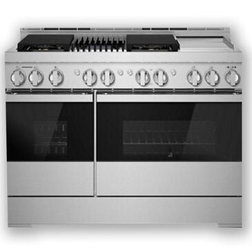 """Jenn-Air 48"""" Gas Professional Range with Chrome-Infused Griddle and Infrared Grill in Black Glass, , large"""