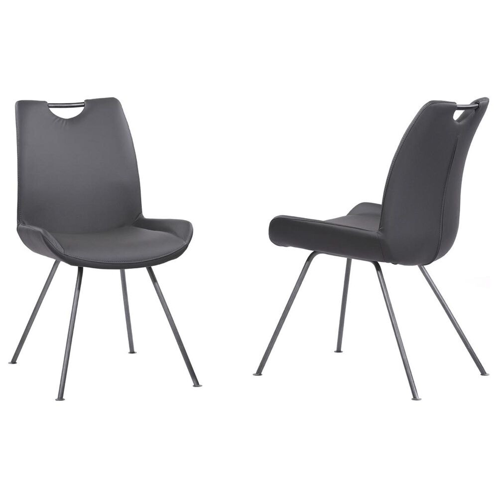 Armen Living Coronado Dining Chair in Gray Faux Leather (Set of 2), , large