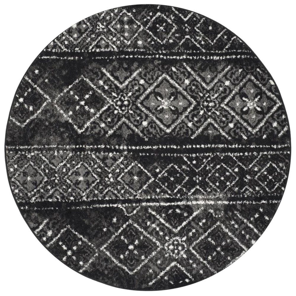 Safavieh Adirondack ADR111C 4' Round Black and Silver Area Rug, , large