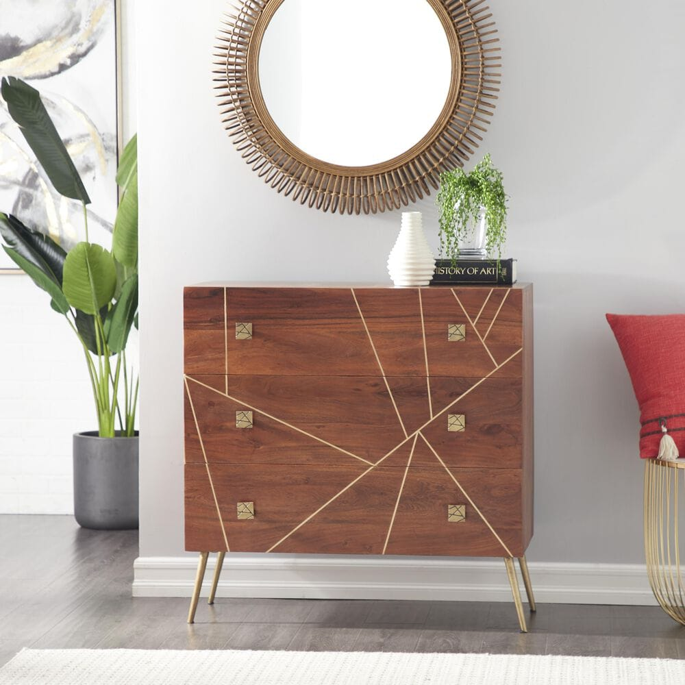Maple and Jade Modern Metal Cabinet in Brown, , large