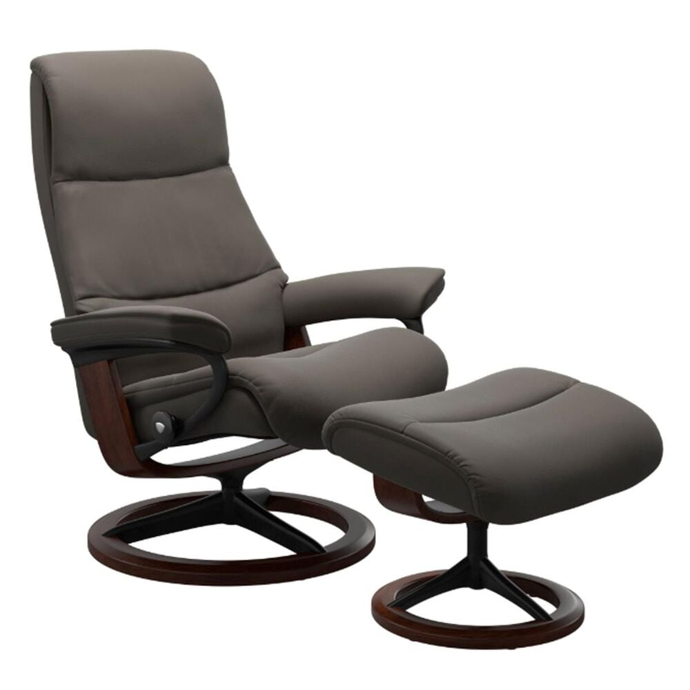 Ekornes View Large Chair and Ottoman in Metal Grey, , large