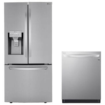 LG 2 Piece Kitchen Package 25 Cu. Ft. French Door Refrigerator and Top Control Dishwasher - Stainless Steel , , large