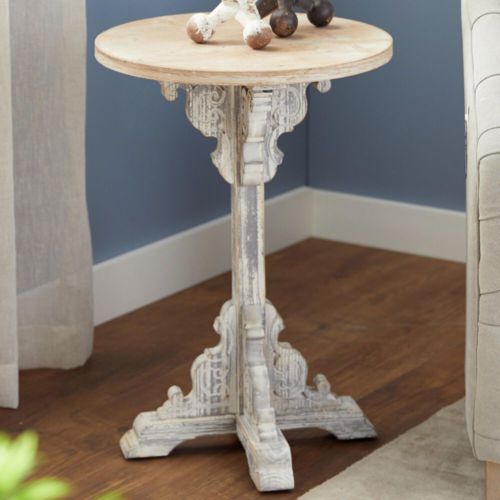 """Maple and Jade 23"""" x 15"""" Accent Table in White, , large"""