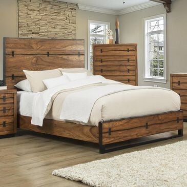 Alpine Furniture Live Edge Queen Panel Bed in Tobacco, , large