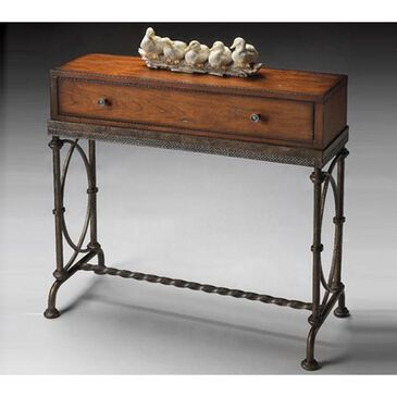 Butler Masterpiece Console Table with Metal Base in Old World Cherry, , large