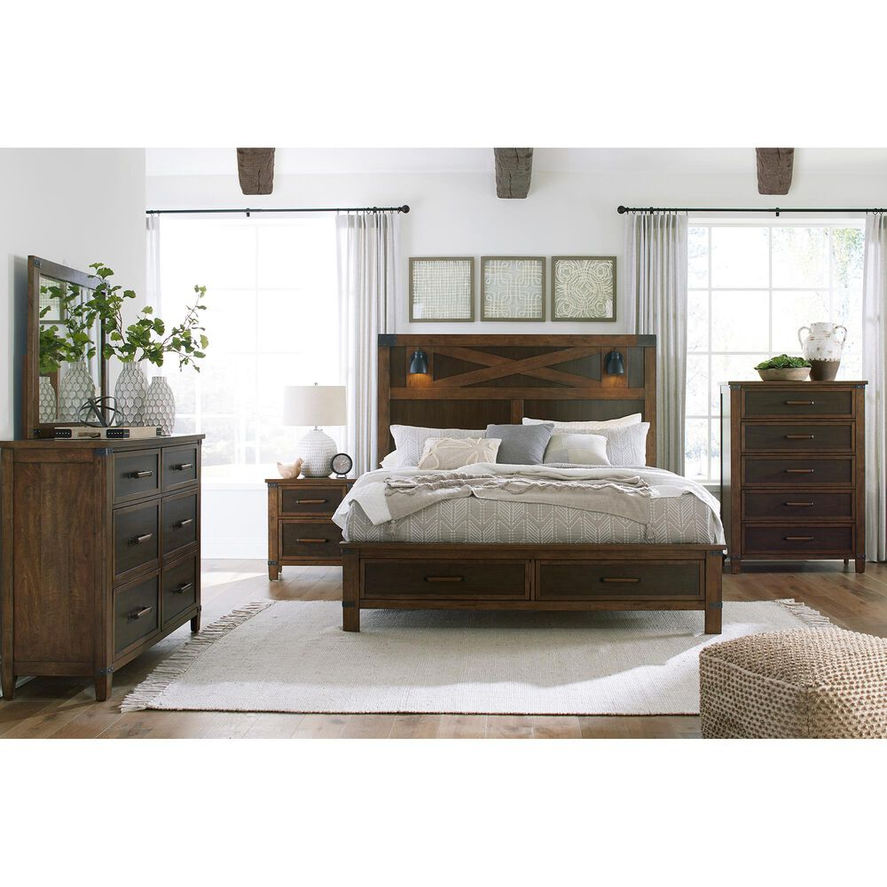 Signature Design by Ashley Wyattfield 4 Piece King Bedroom Set in Walnut Brown and Dark Burnt Umber, , large