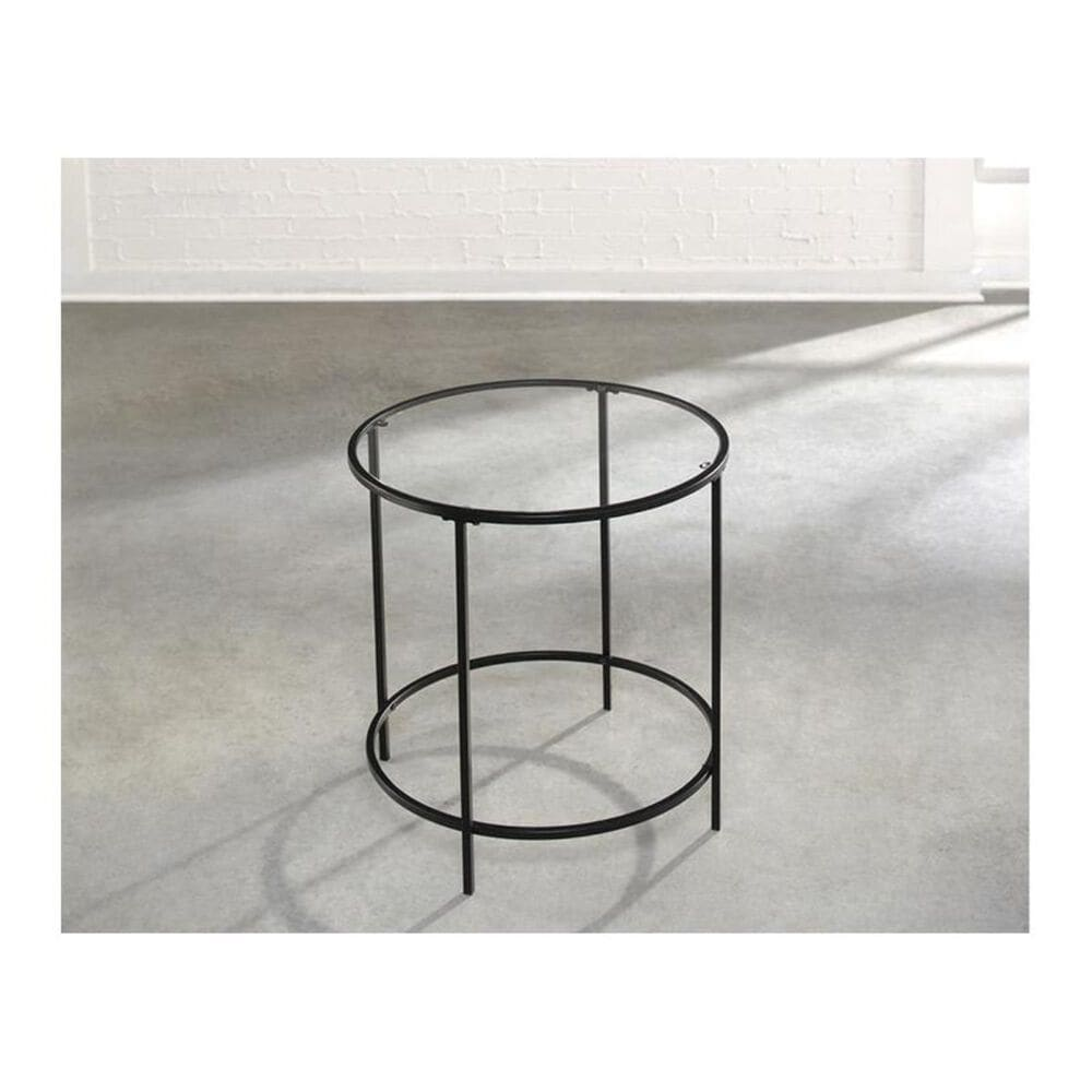 Sauder  Soft Modern Round Side Table with Clear Glass in Black, , large