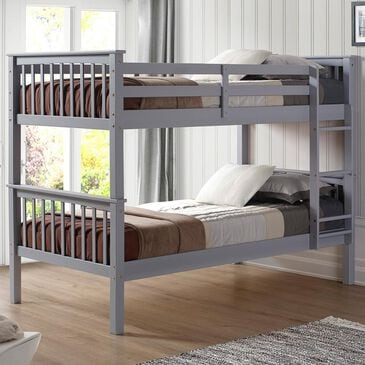 Walker Edison Twin over Twin Bunk Bed in Grey, , large