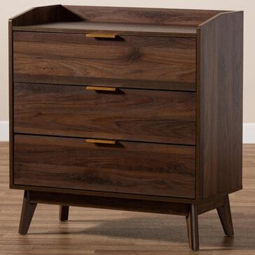 Baxton Studio Lena 3 Drawer Chest in Walnut, , large