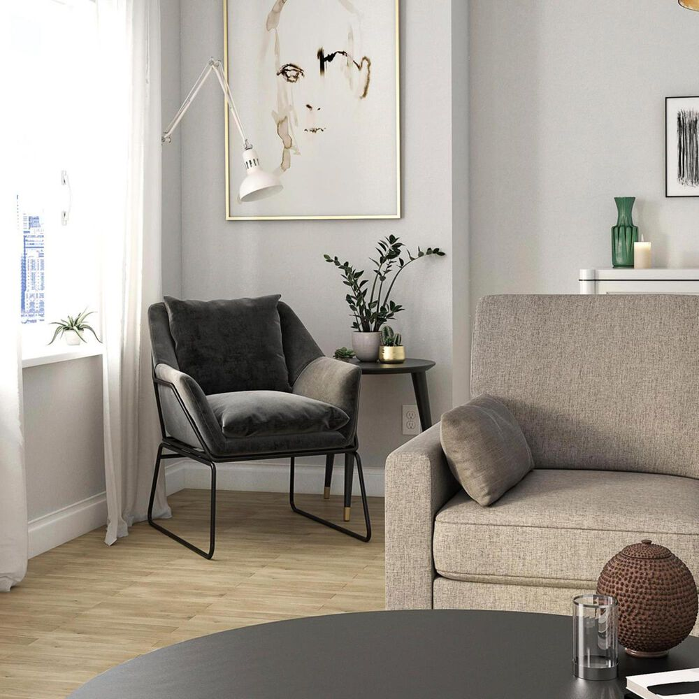 DHP Ari Accent Chair in Grey Velvet, , large