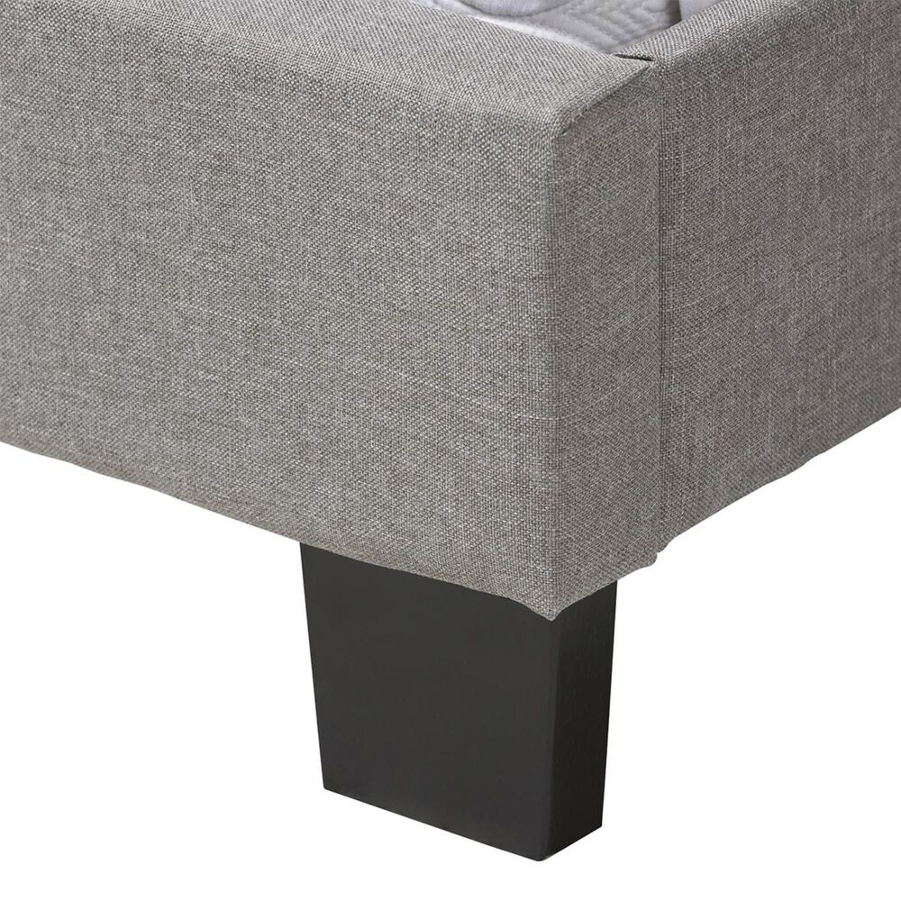 Baxton Studio Cassandra Upholstered Queen Bed in Light Grey, , large