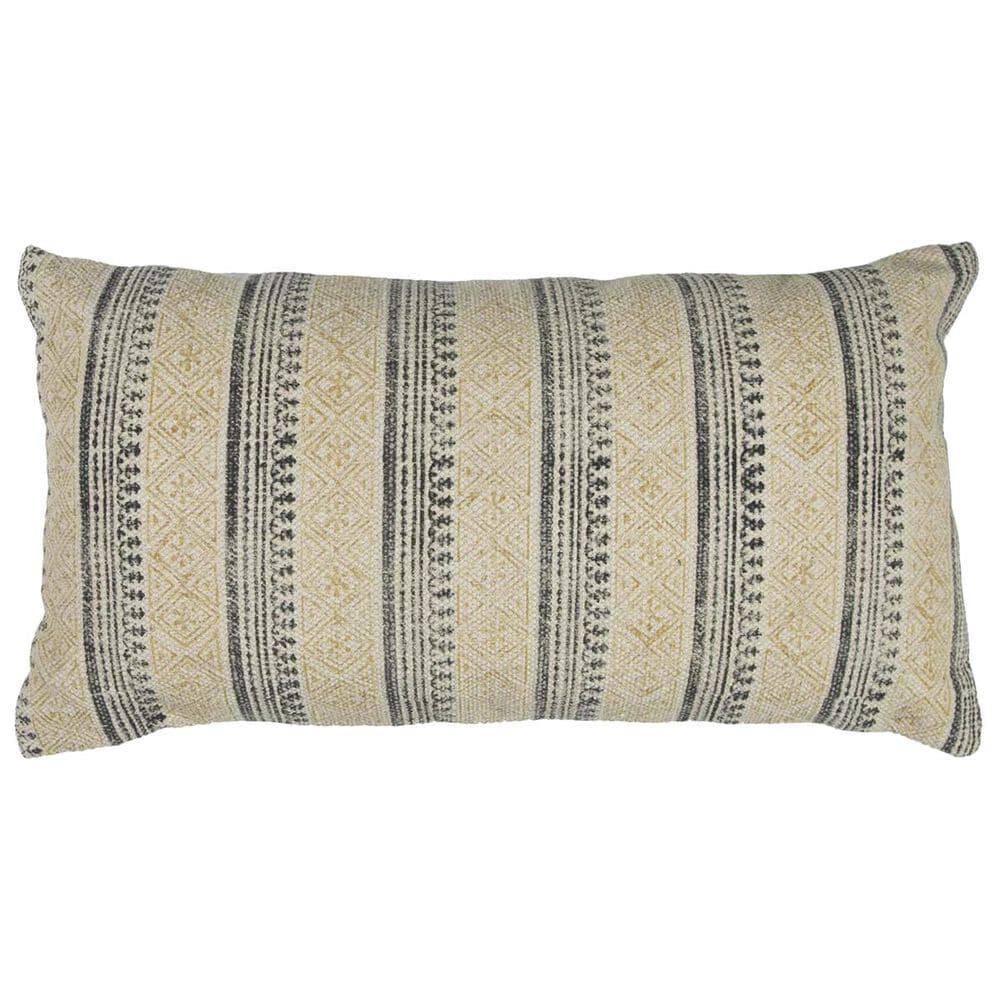 """Rizzy Home 14"""" x 26"""" Pillow Cover in Gray and Yellow, , large"""