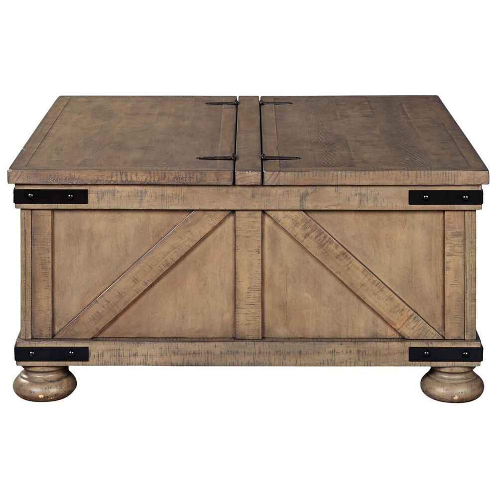 Signature Design by Ashley Aldwin Coffee Table with Lift Top Storage in Weathered Gray Brown, , large