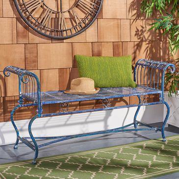 Safavieh Brielle Patio Bench in Antique Blue, , large