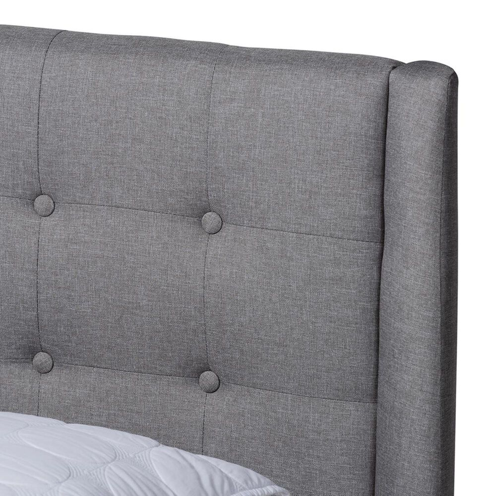 Baxton Studio Naya King Upholstered Wingback Platform Bed in Gray, , large