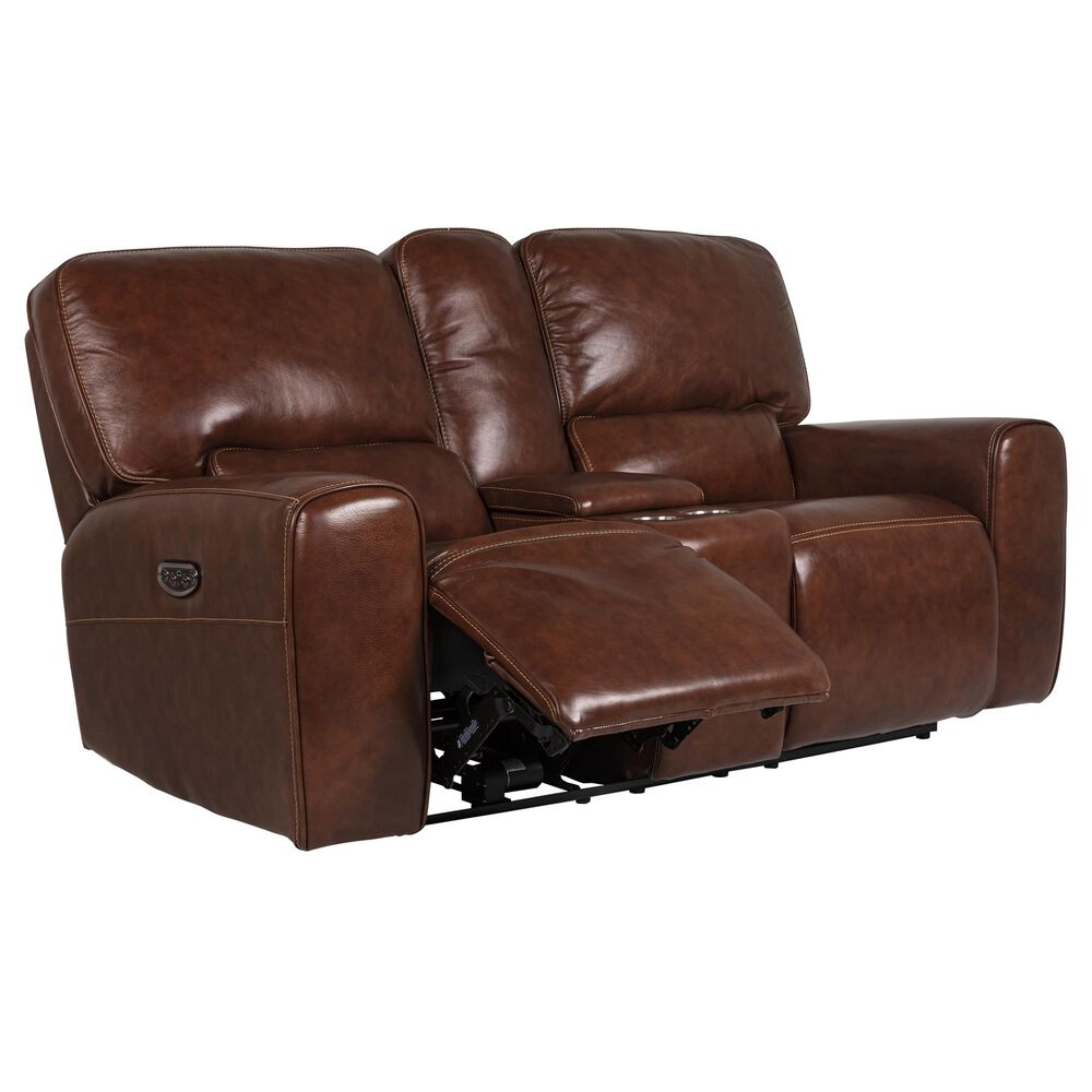 Italiano Furniture Leather Power Console Loveseat with Power Headrest in Brown, , large