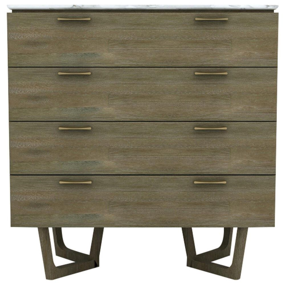 LH Imports Aura 4 Drawer Chest with White Marble Top in Gray Mix Distressed, , large