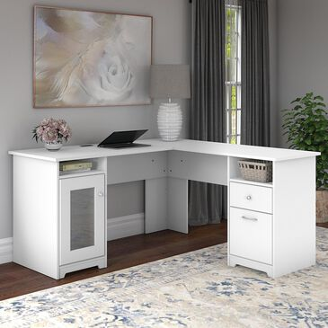 "Bush Cabot 60"" L-Shaped Desk in White, , large"